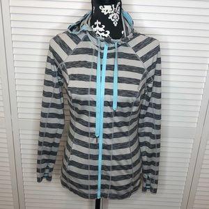 Lukka Striped Full Zip Hooded Jacket Small